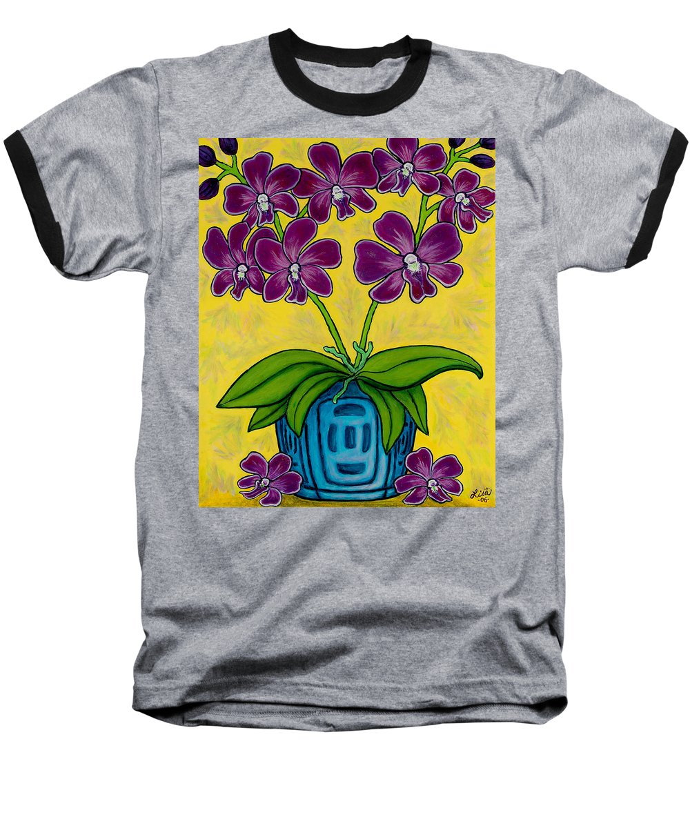 Orchids Baseball T-Shirt featuring the painting Orchid Delight by Lisa Lorenz
