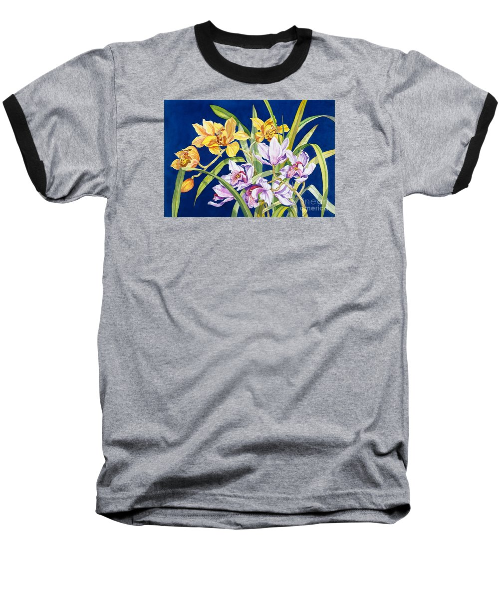 Orchids Baseball T-Shirt featuring the painting Orchids In Blue by Lucy Arnold