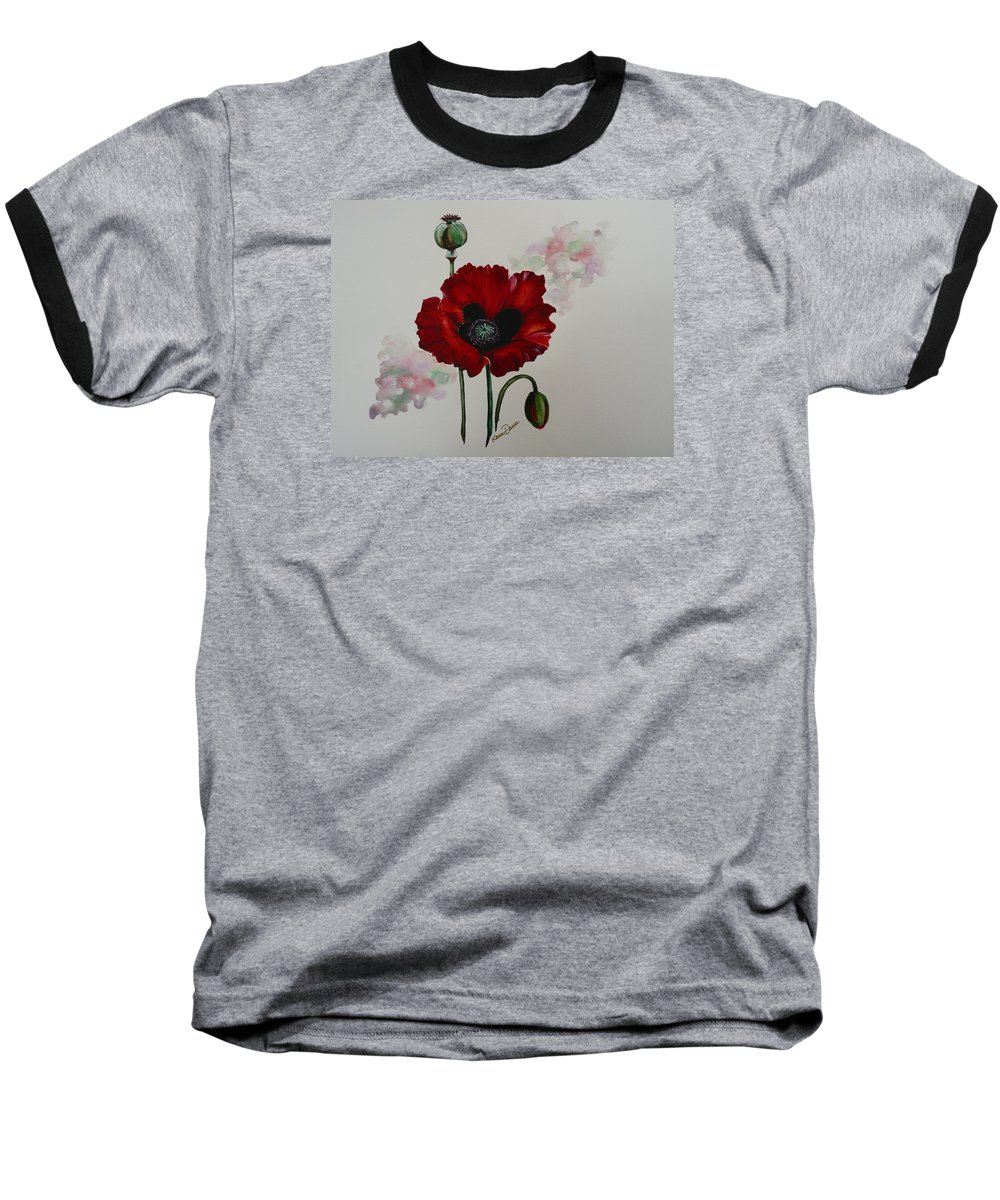 Floral Poppy Red Flower Baseball T-Shirt featuring the painting Oriental Poppy by Karin Dawn Kelshall- Best