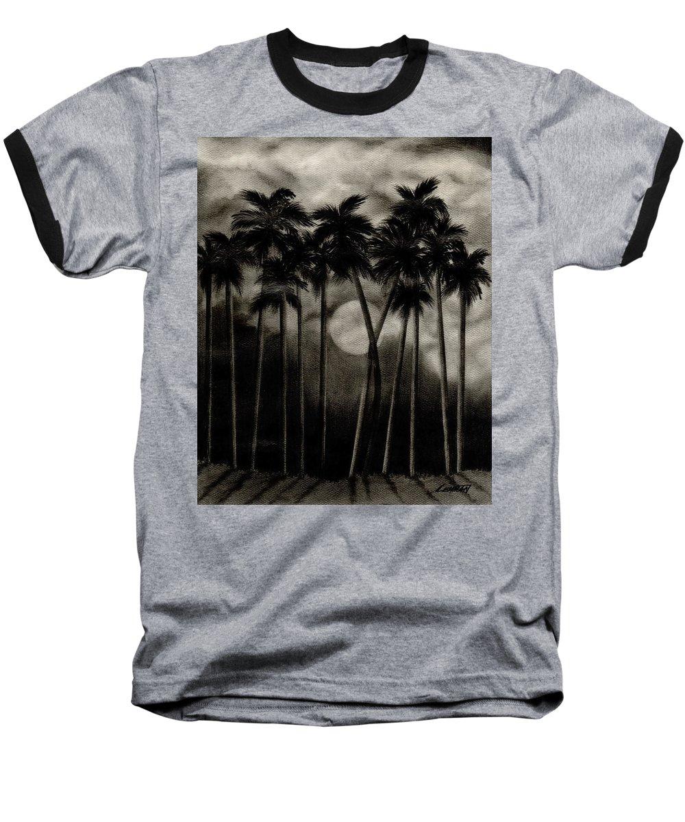 Original Moonlit Palm Trees Baseball T-Shirt featuring the drawing Original Moonlit Palm Trees by Larry Lehman