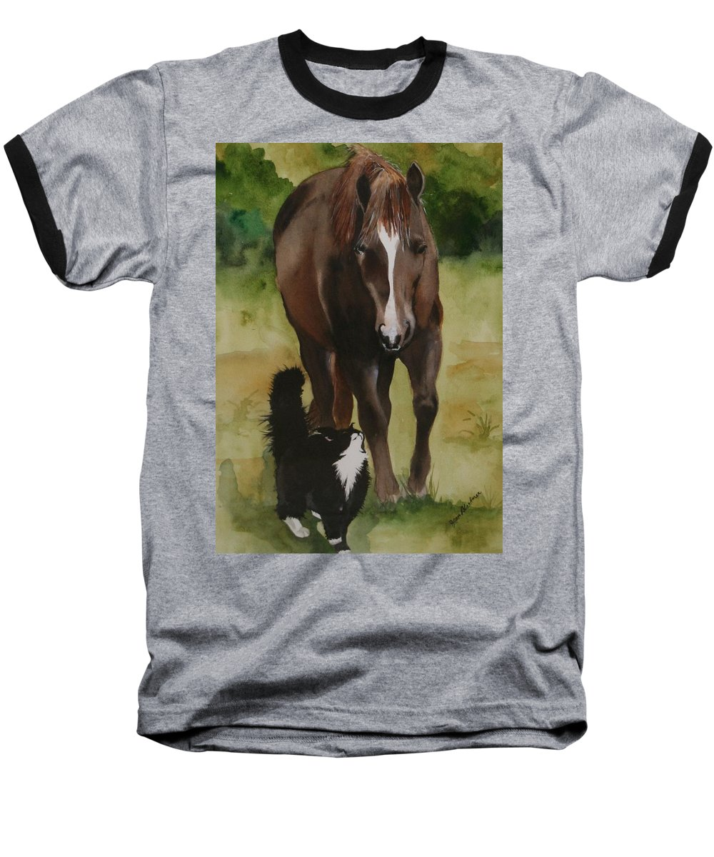 Horse Baseball T-Shirt featuring the painting Oscar And Friend by Jean Blackmer
