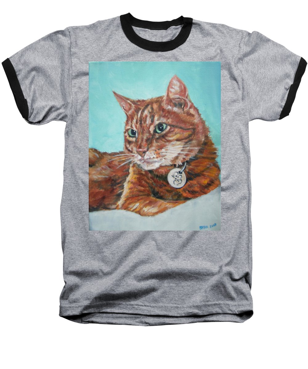 Cat Baseball T-Shirt featuring the painting Oscar by Bryan Bustard