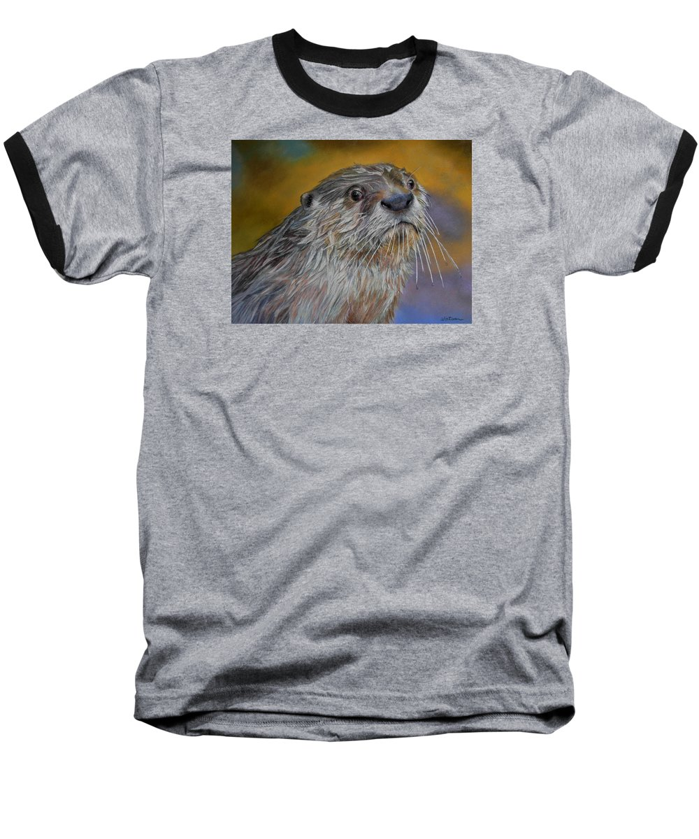 River Otter Baseball T-Shirt featuring the painting Otter Or Not by Ceci Watson