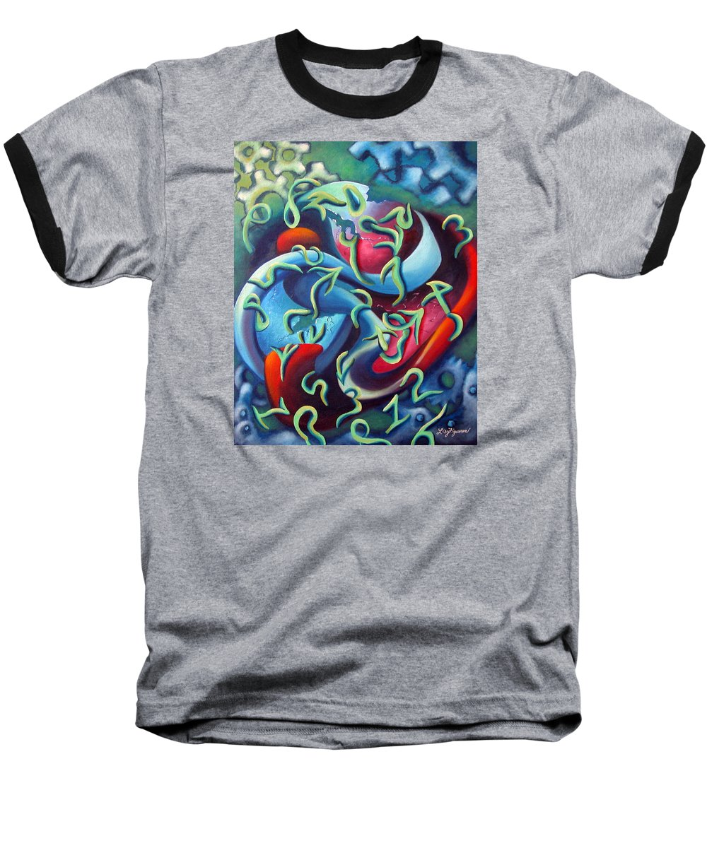 Clocks Baseball T-Shirt featuring the painting Our Inner Clocks by Elizabeth Lisy Figueroa