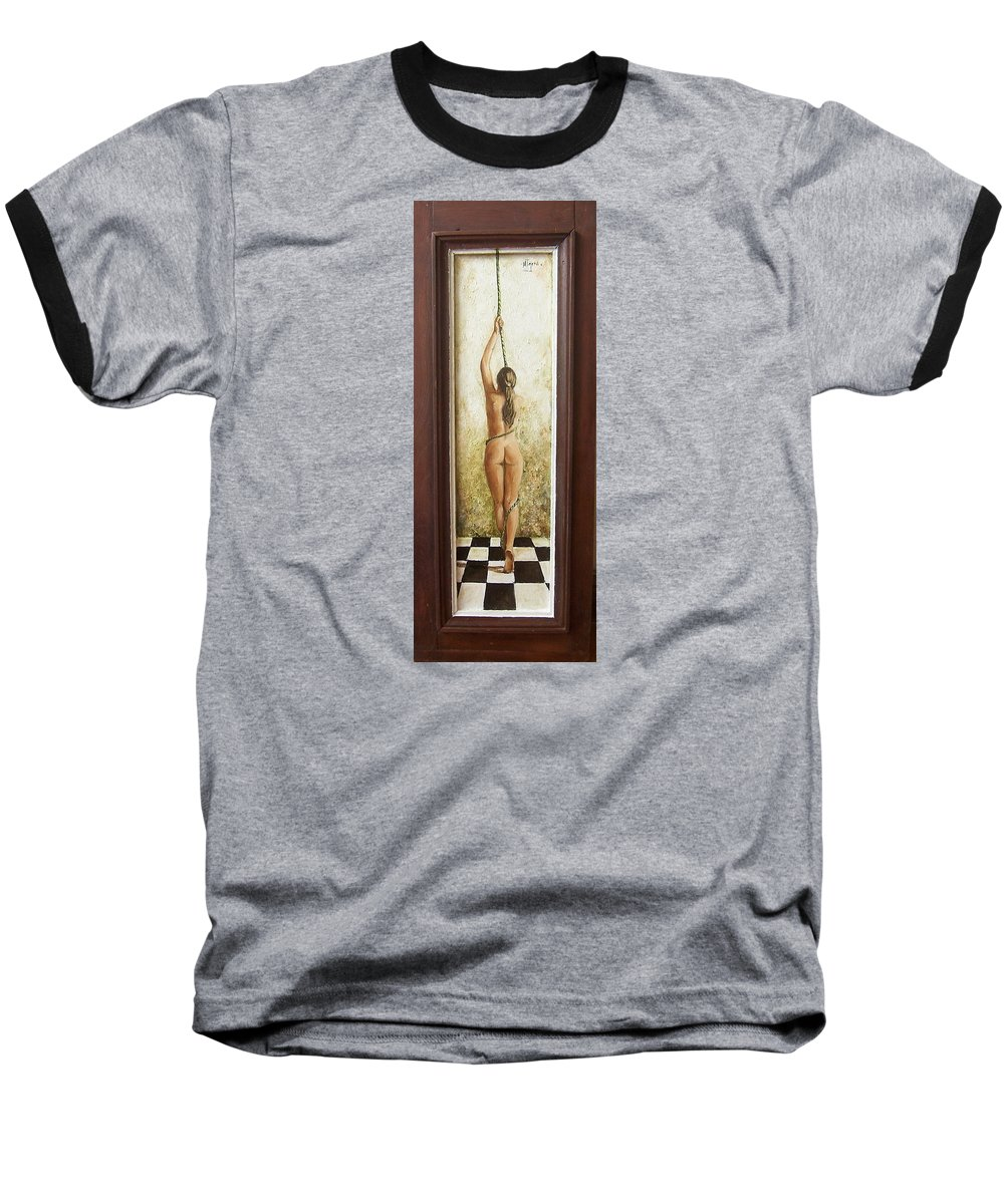 Figurative Baseball T-Shirt featuring the painting Out Of Chess by Natalia Tejera