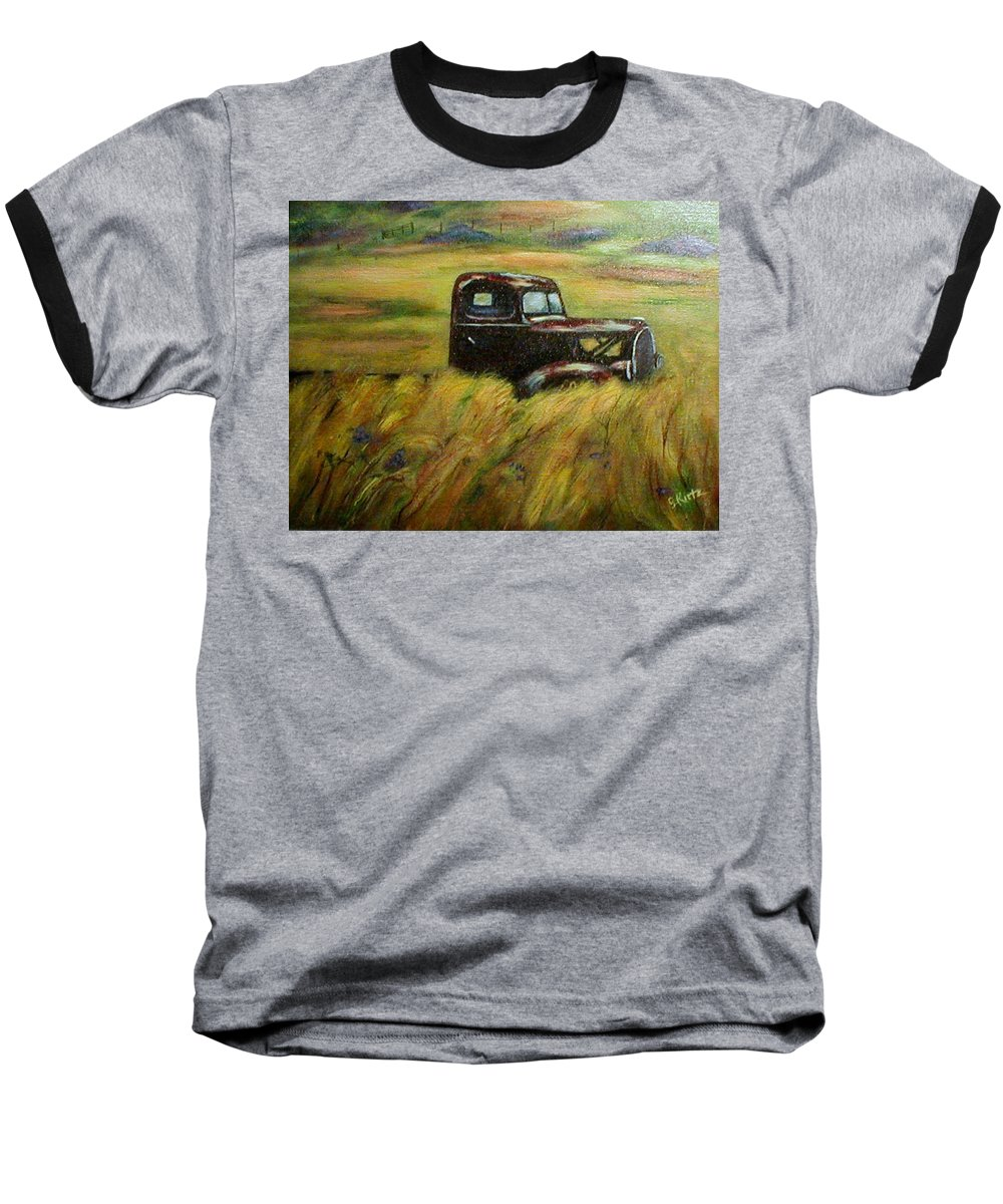 Vintage Truck Baseball T-Shirt featuring the painting Out To Pasture by Gail Kirtz
