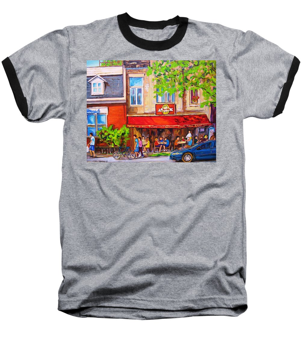 Montreal Baseball T-Shirt featuring the painting Outdoor Cafe by Carole Spandau