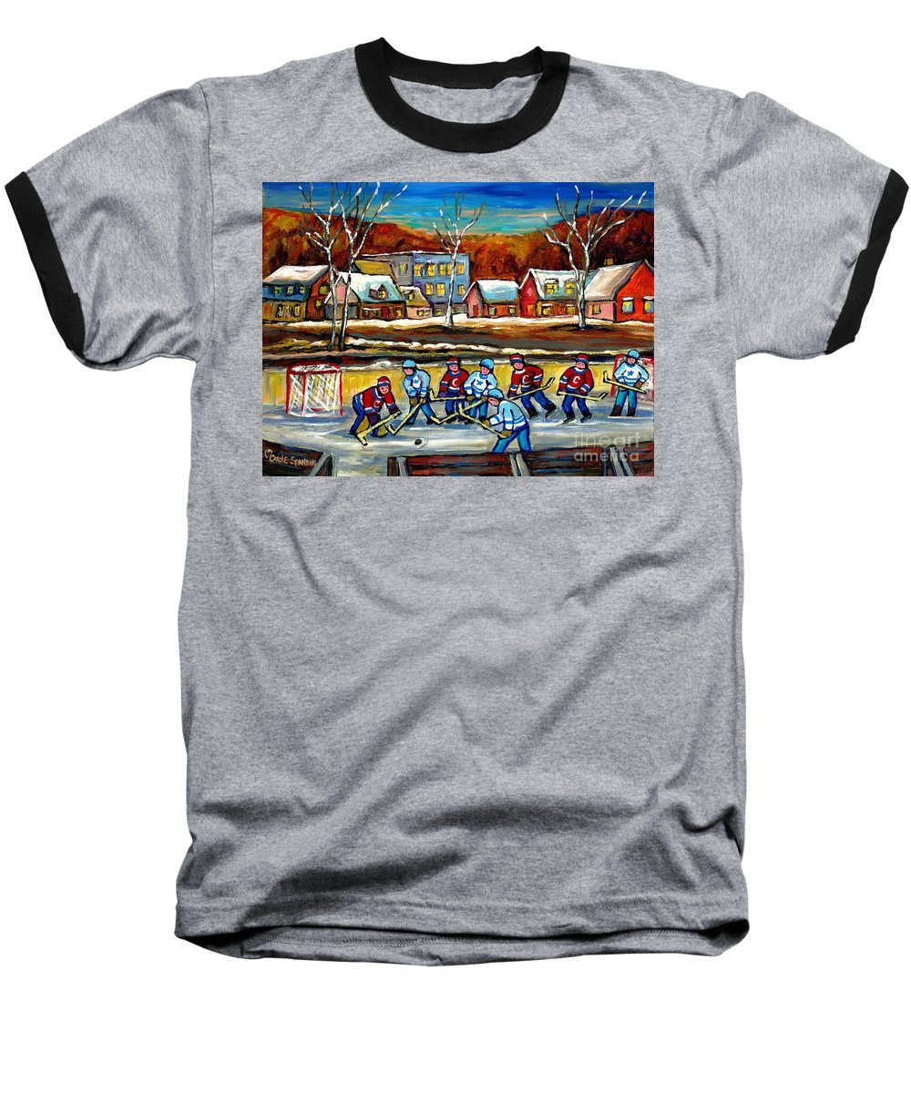 Country Hockey Rink Baseball T-Shirt featuring the painting Outdoor Hockey Rink by Carole Spandau
