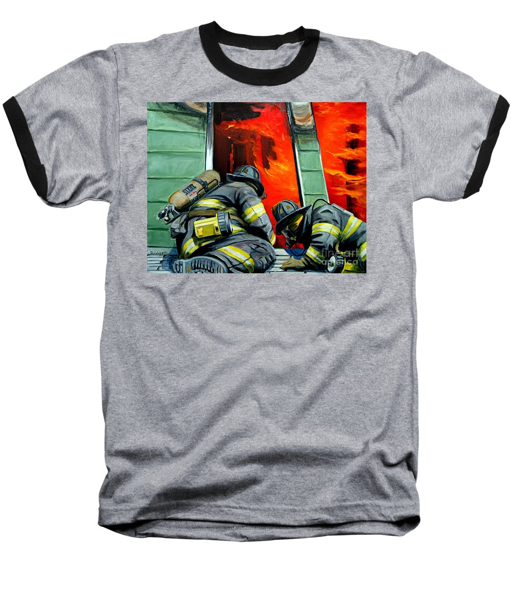 Firefighting Baseball T-Shirt featuring the painting Outside Roof by Paul Walsh