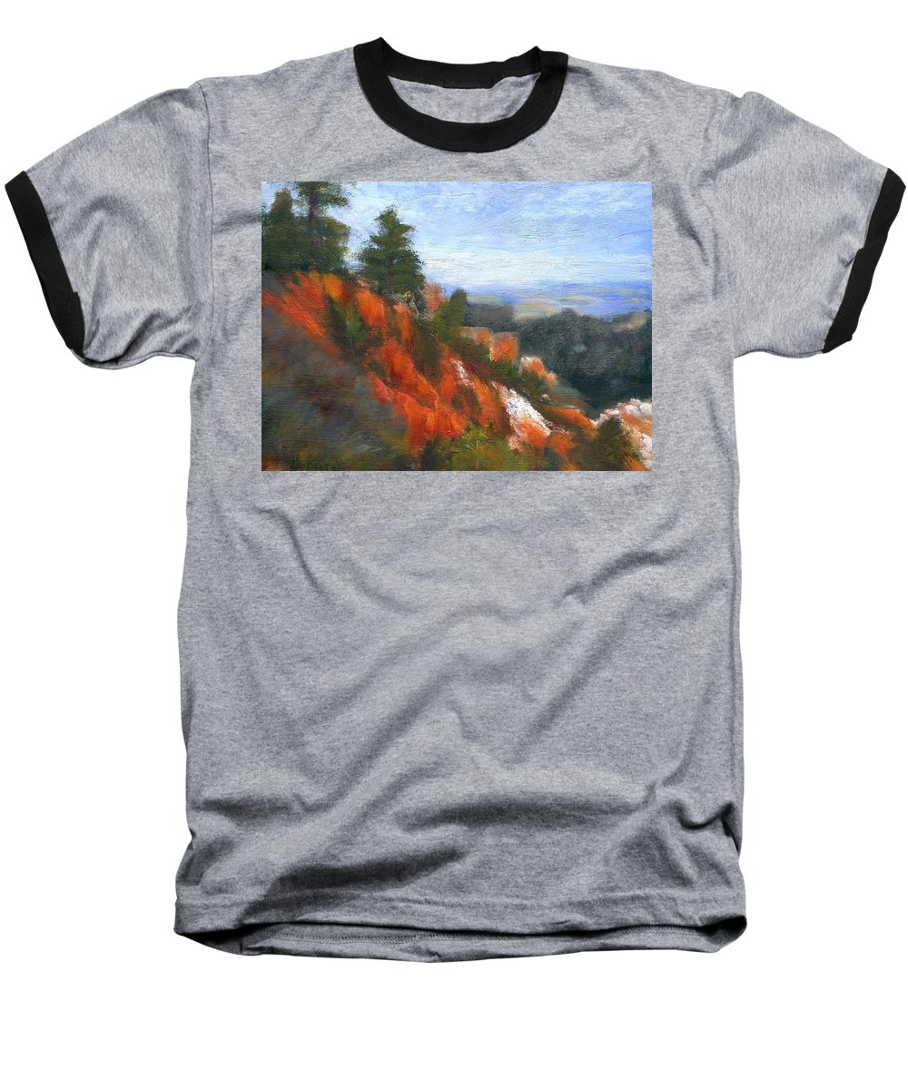 Southwest Baseball T-Shirt featuring the painting Overlook by Gail Kirtz