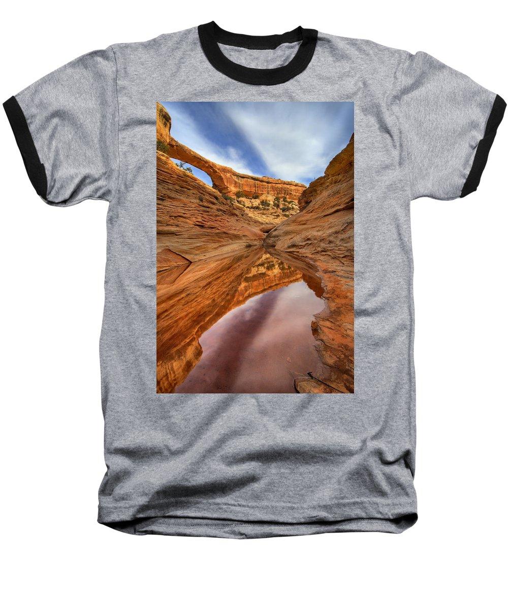 Bridge Baseball T-Shirt featuring the photograph Owachomo Reflected by Mike Dawson