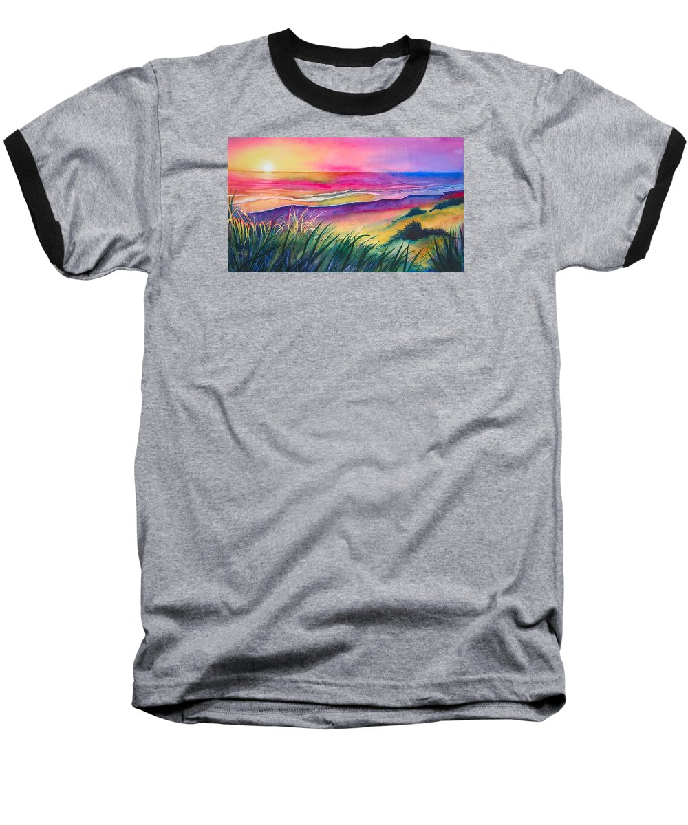 Pacific Baseball T-Shirt featuring the painting Pacific Evening by Karen Stark
