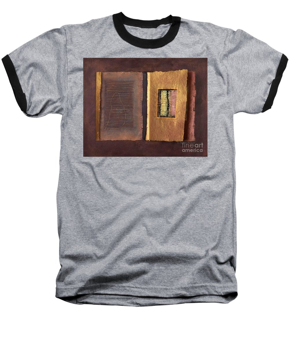 Pageformat Baseball T-Shirt featuring the painting Page Format No 2 Transitional Series by Kerryn Madsen-Pietsch