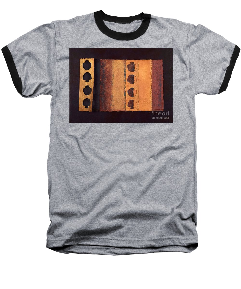 Pageformat Baseball T-Shirt featuring the mixed media Page Format No 3 Tansitional Series  by Kerryn Madsen-Pietsch