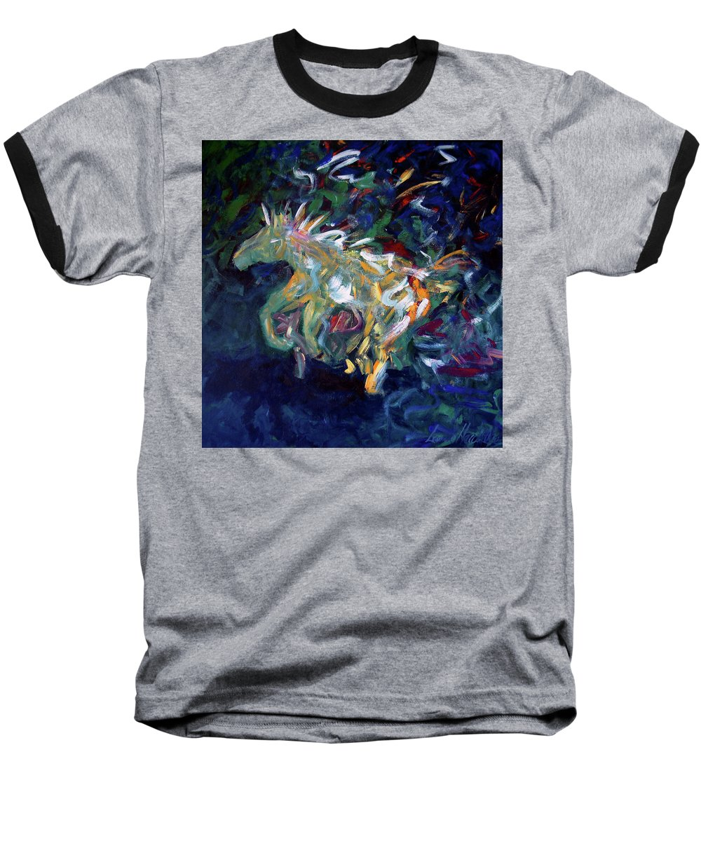 Abstract Horse Baseball T-Shirt featuring the painting Painted Pony by Lance Headlee