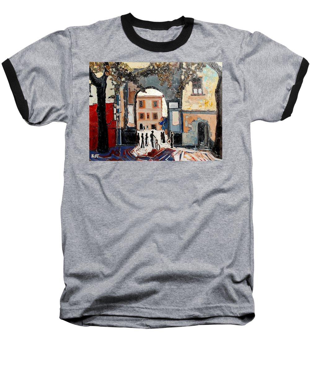 Tuscany Baseball T-Shirt featuring the painting Palazzo Vecchio by Kurt Hausmann