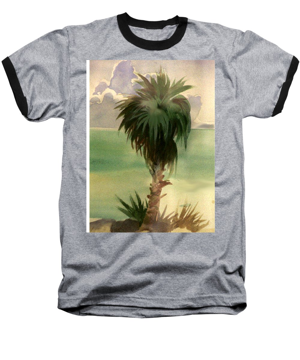 Palm Baseball T-Shirt featuring the painting Palm At Horseshoe Cove by Neal Smith-Willow