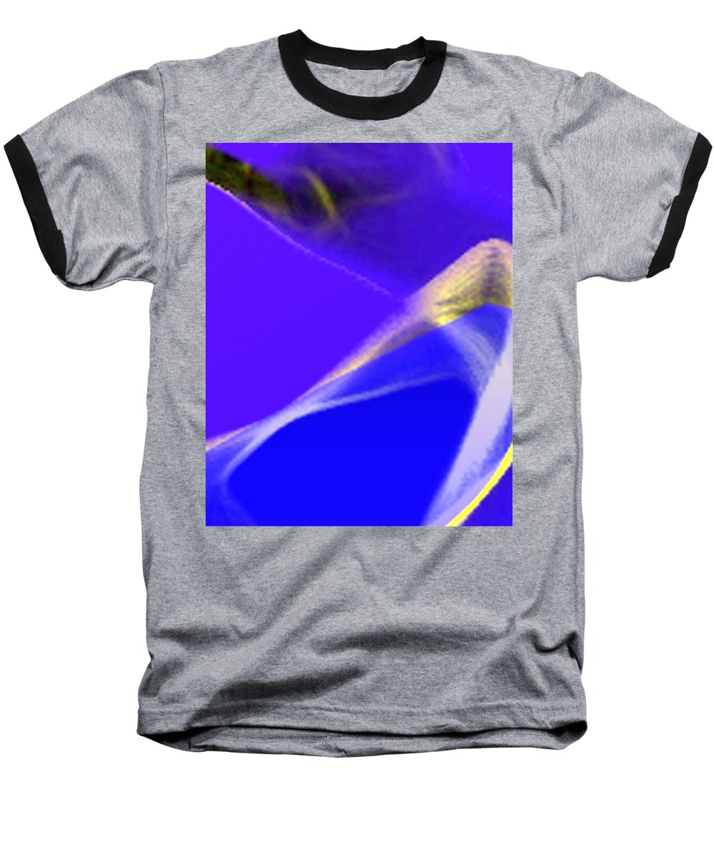 Abstract Baseball T-Shirt featuring the digital art panel three from Movement in Blue by Steve Karol