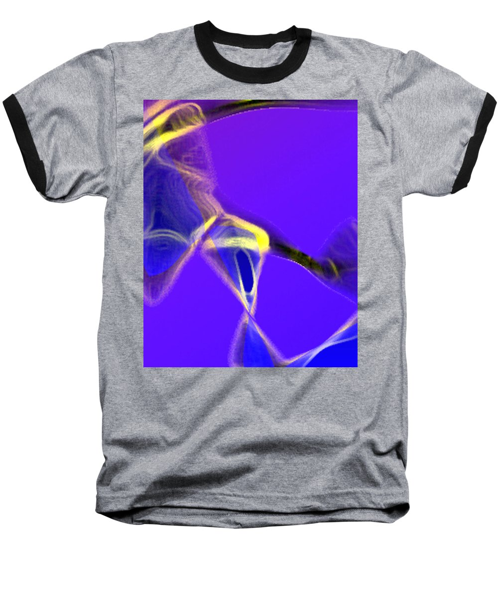 Abstract Baseball T-Shirt featuring the digital art panel two from Movement in Blue by Steve Karol