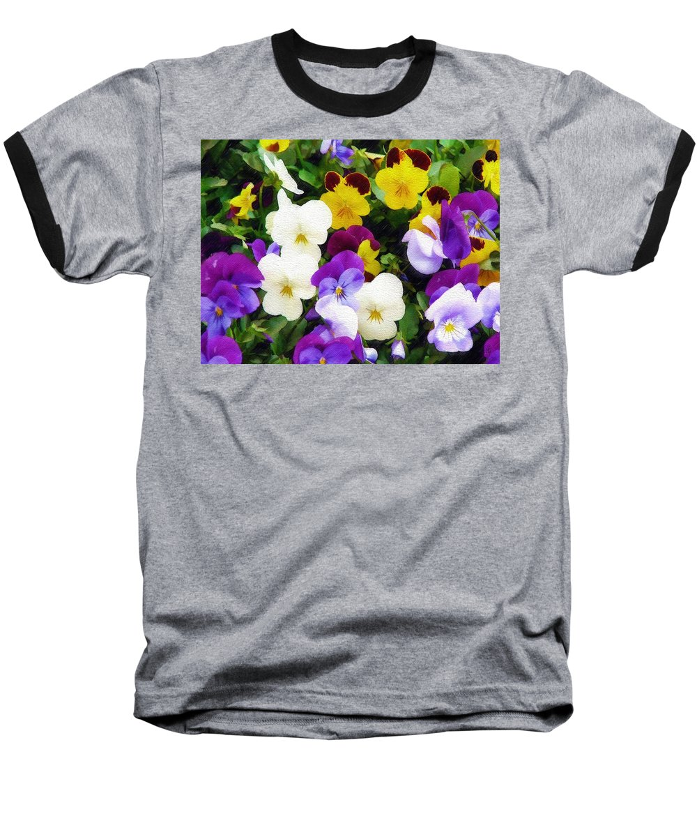 Pansies Baseball T-Shirt featuring the photograph Pansies by Sandy MacGowan