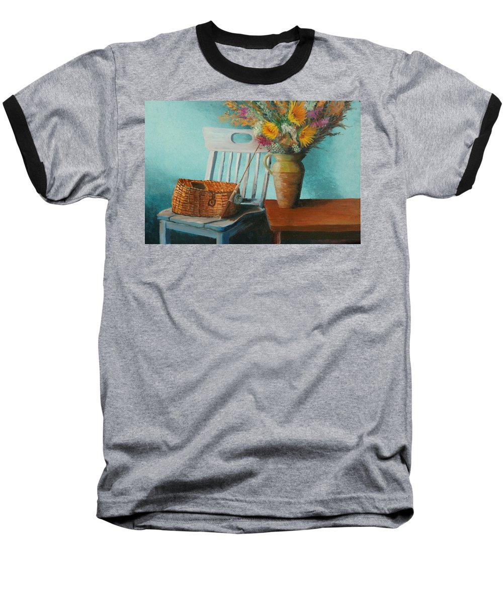 Floral Baseball T-Shirt featuring the painting Papa's Pole by Jerry McElroy