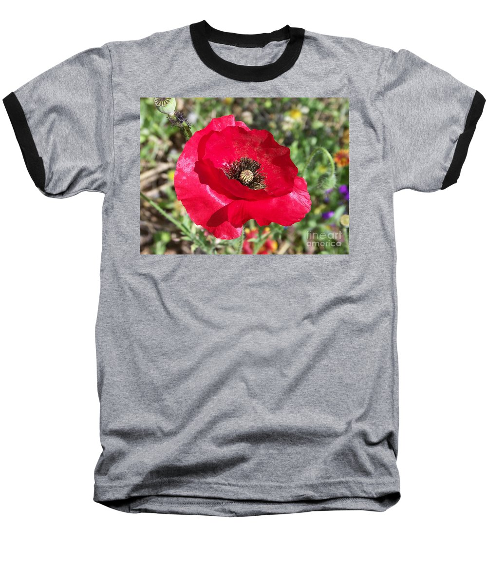 Red Baseball T-Shirt featuring the photograph Paper Flower by Kathy McClure
