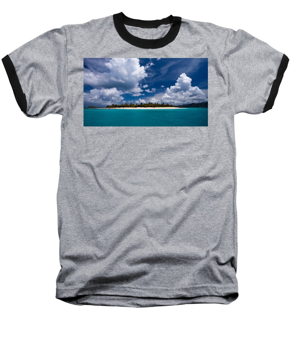 3scape Baseball T-Shirt featuring the photograph Paradise Is Sandy Cay by Adam Romanowicz
