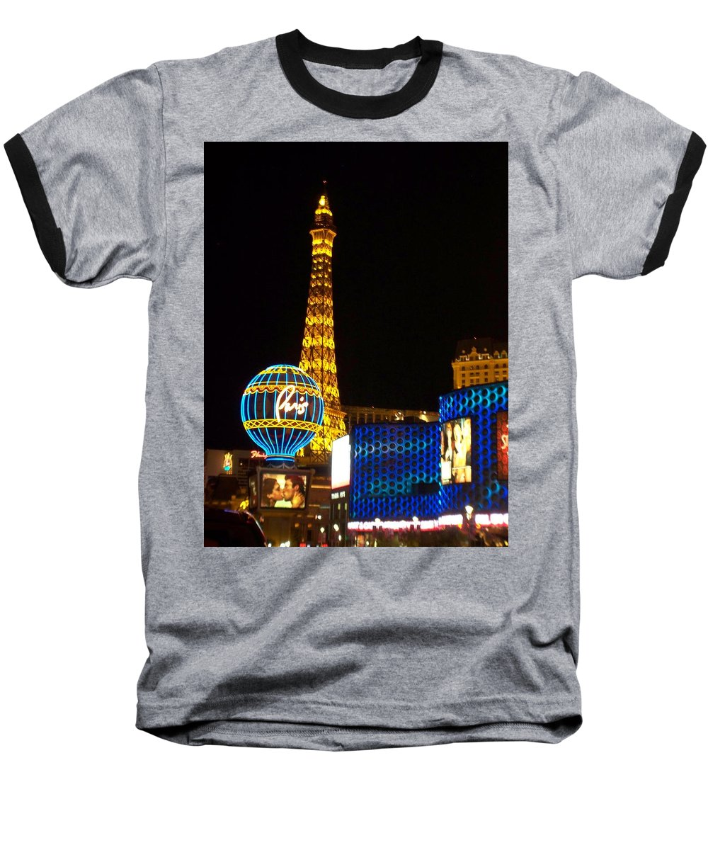 Vegas Baseball T-Shirt featuring the photograph Paris Hotel At Night by Anita Burgermeister