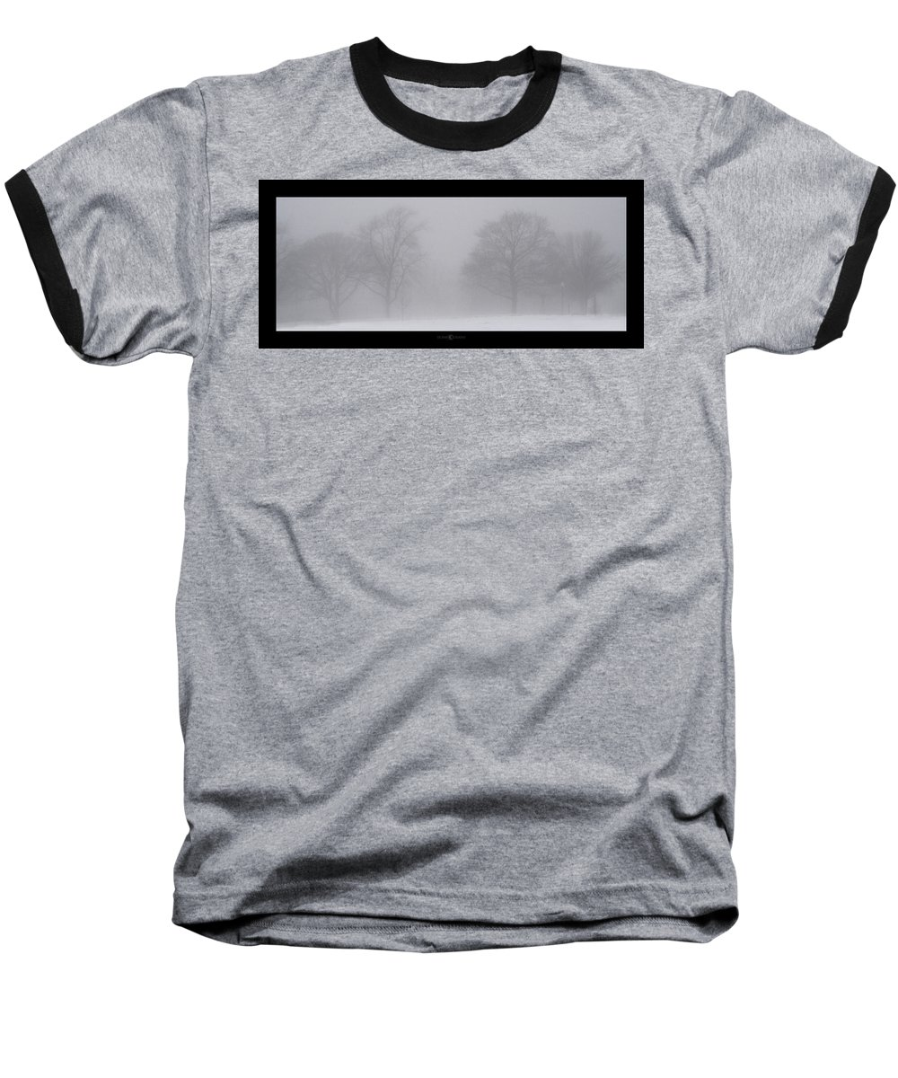 Fog Baseball T-Shirt featuring the photograph Park In Winter Fog by Tim Nyberg