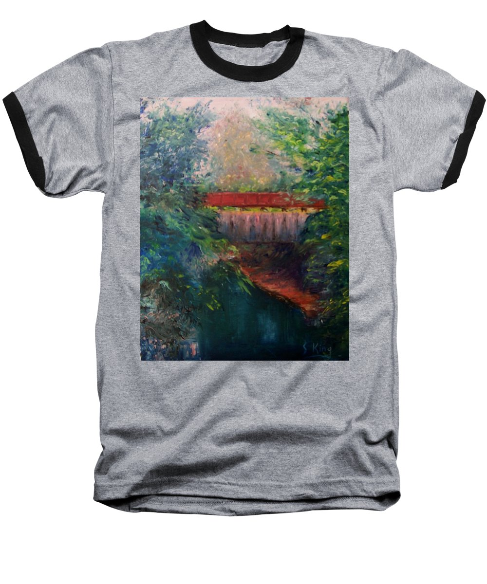 Landscape Baseball T-Shirt featuring the painting Parke County by Stephen King
