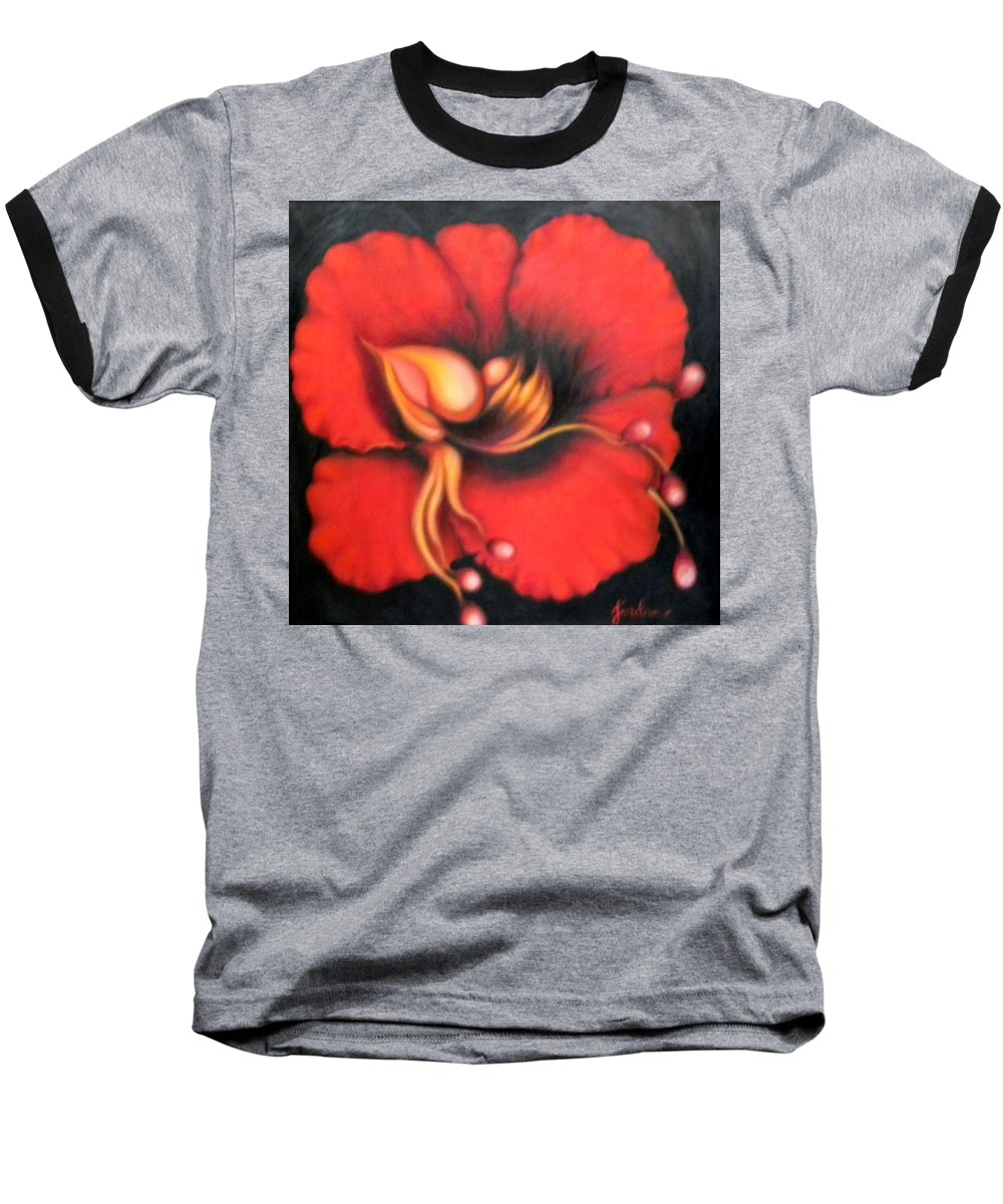 Red Surreal Bloom Artwork Baseball T-Shirt featuring the painting Passion Flower by Jordana Sands