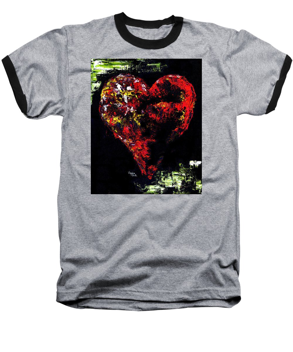 Heart Baseball T-Shirt featuring the painting Passion by Hiroko Sakai