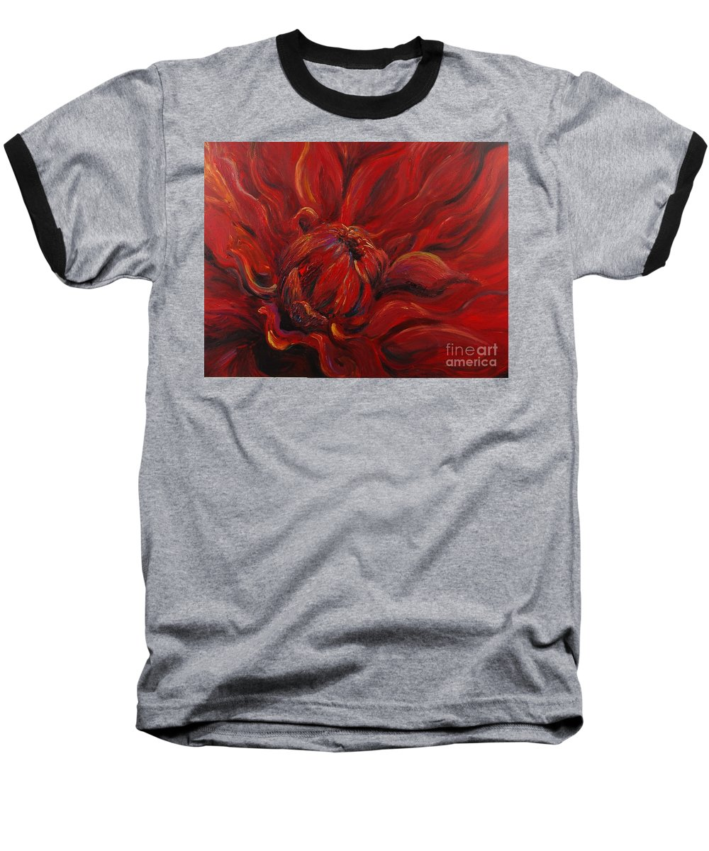 Red Baseball T-Shirt featuring the painting Passion II by Nadine Rippelmeyer