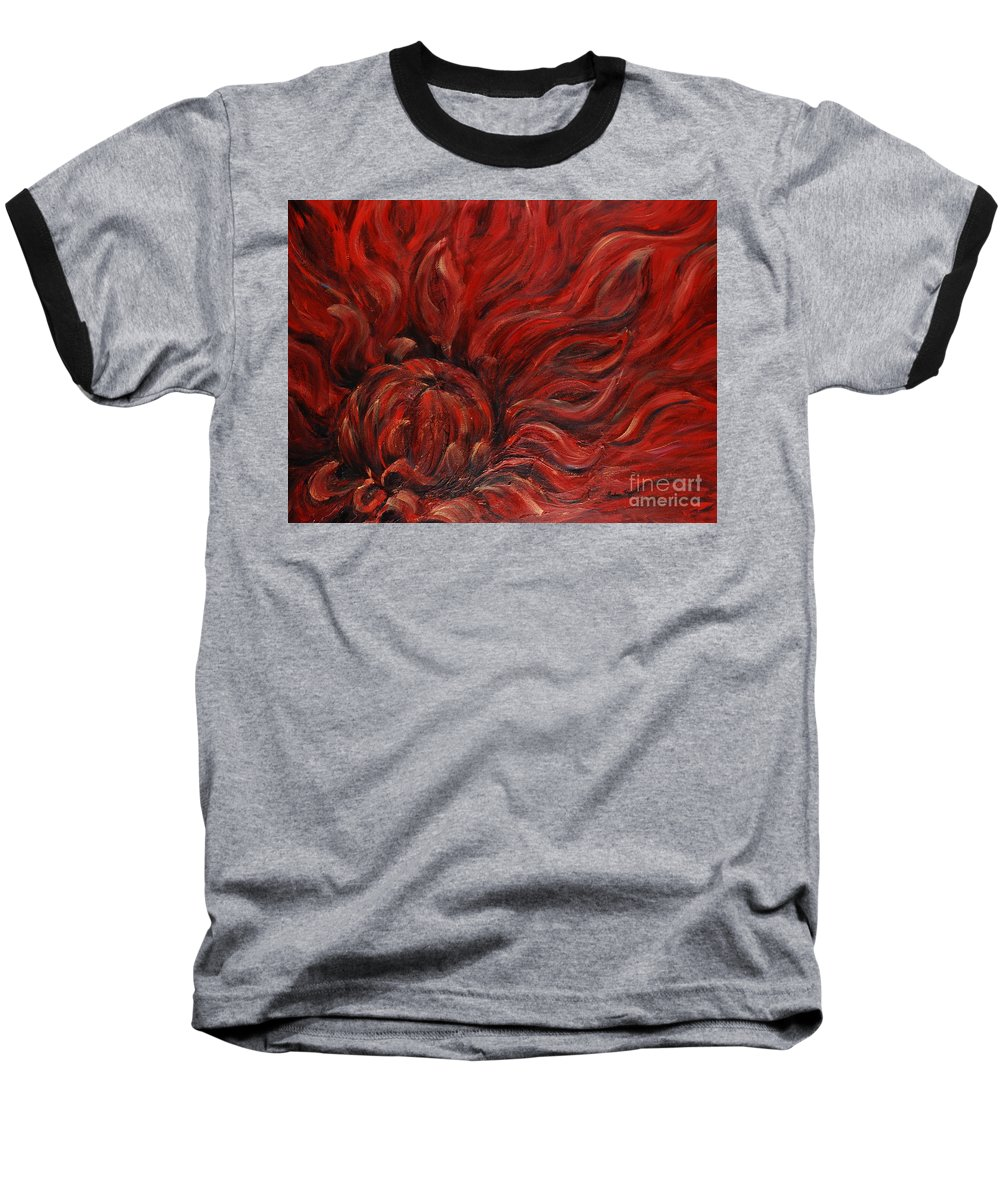 Flower Baseball T-Shirt featuring the painting Passion Iv by Nadine Rippelmeyer