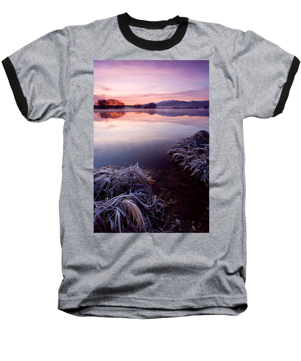 Lake Baseball T-Shirt featuring the photograph Pastel Dawn by Mike Dawson