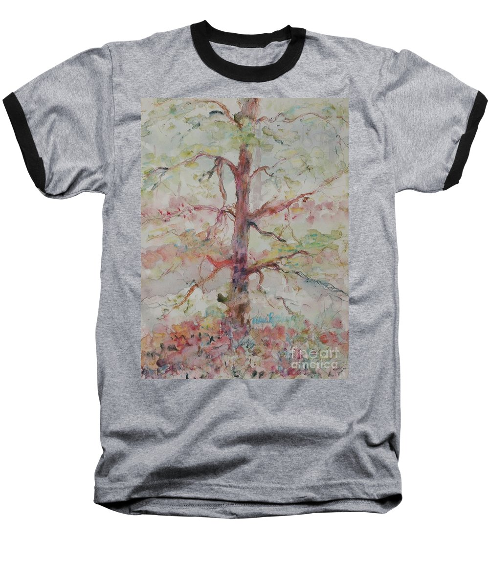 Forest Baseball T-Shirt featuring the painting Pastel Forest by Nadine Rippelmeyer