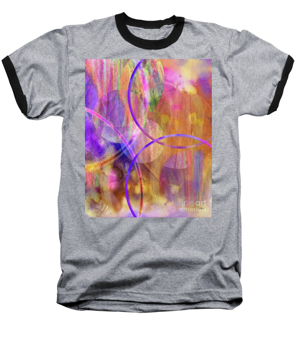 Pastel Planets Baseball T-Shirt featuring the digital art Pastel Planets by John Beck