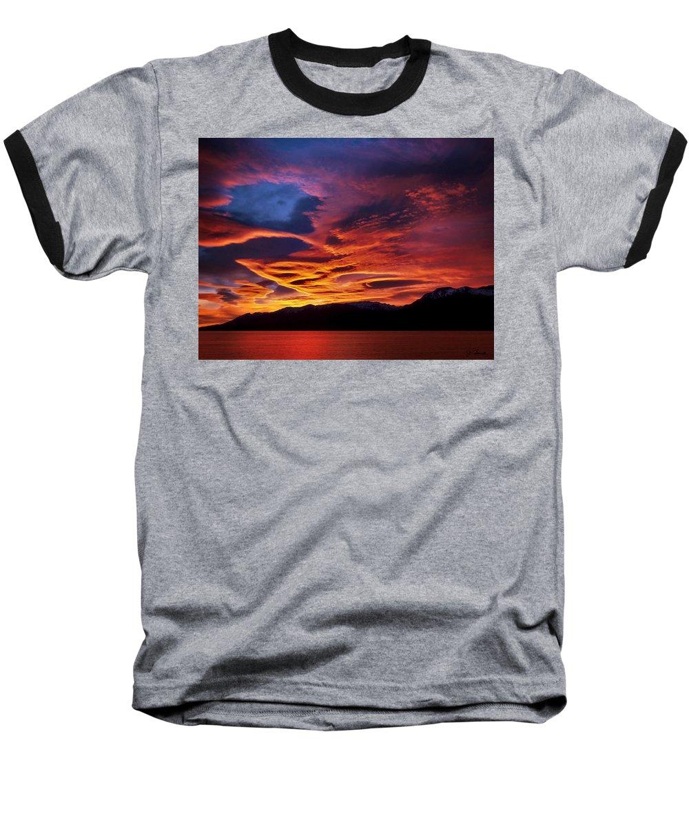 Patagonia Baseball T-Shirt featuring the photograph Patagonian Sunrise by Joe Bonita