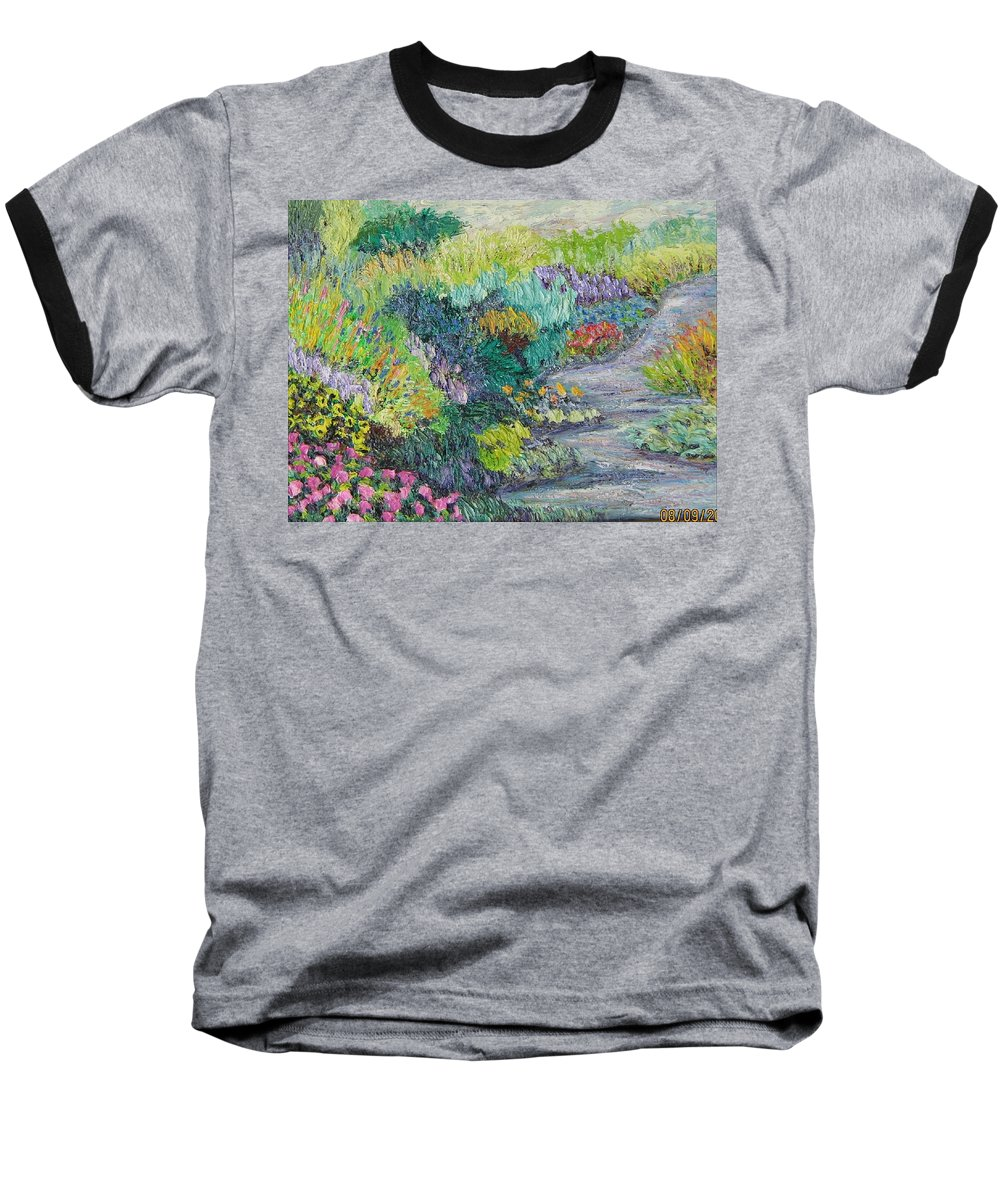 Flowers Baseball T-Shirt featuring the painting Pathway Of Flowers by Richard Nowak
