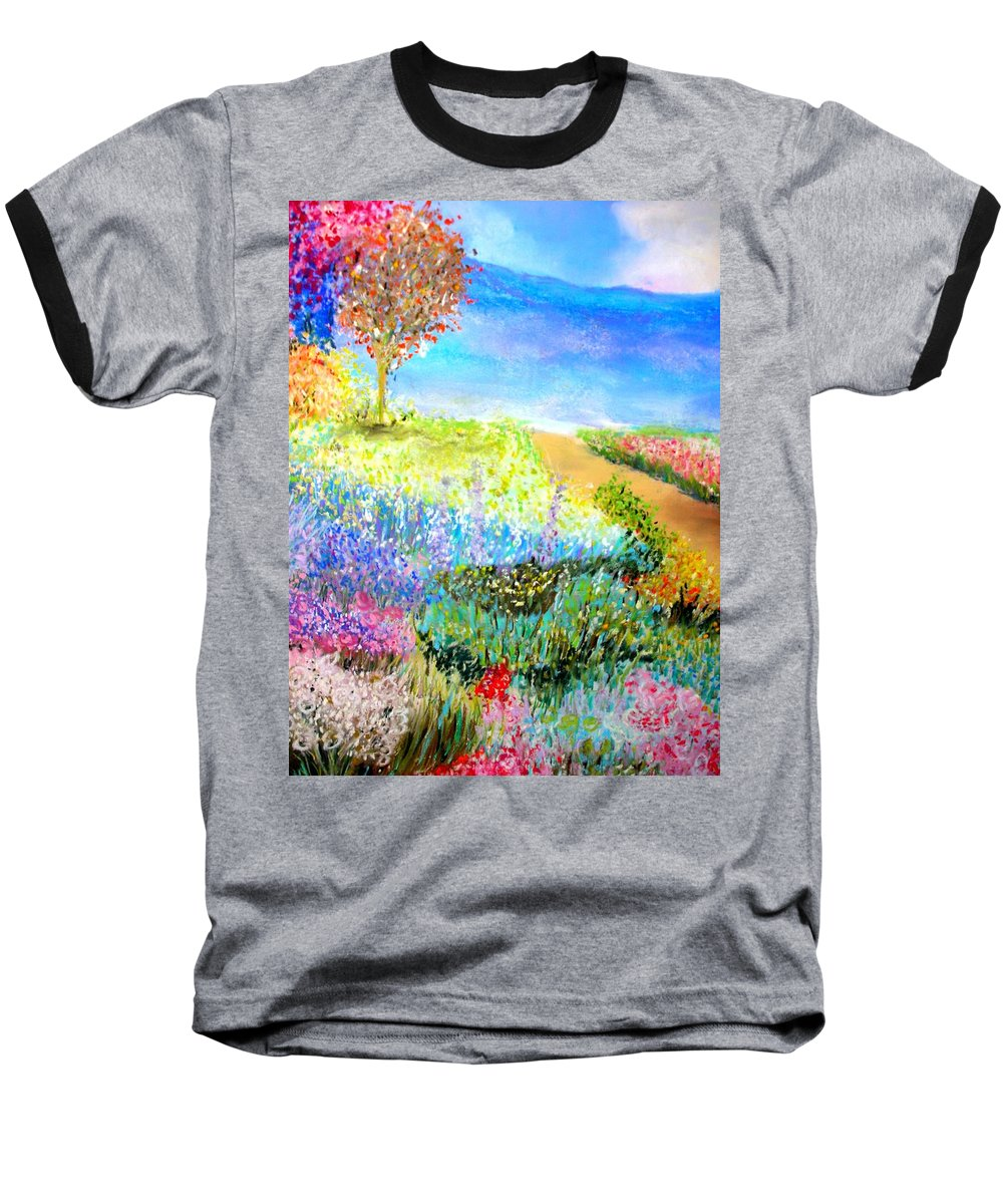 Landscape Baseball T-Shirt featuring the print Patricia's Pathway by Melinda Etzold