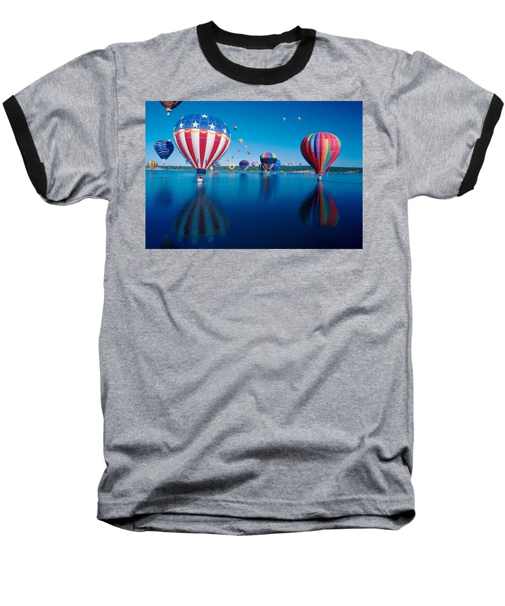 Hot Air Balloons Baseball T-Shirt featuring the photograph Patriotic Hot Air Balloon by Jerry McElroy