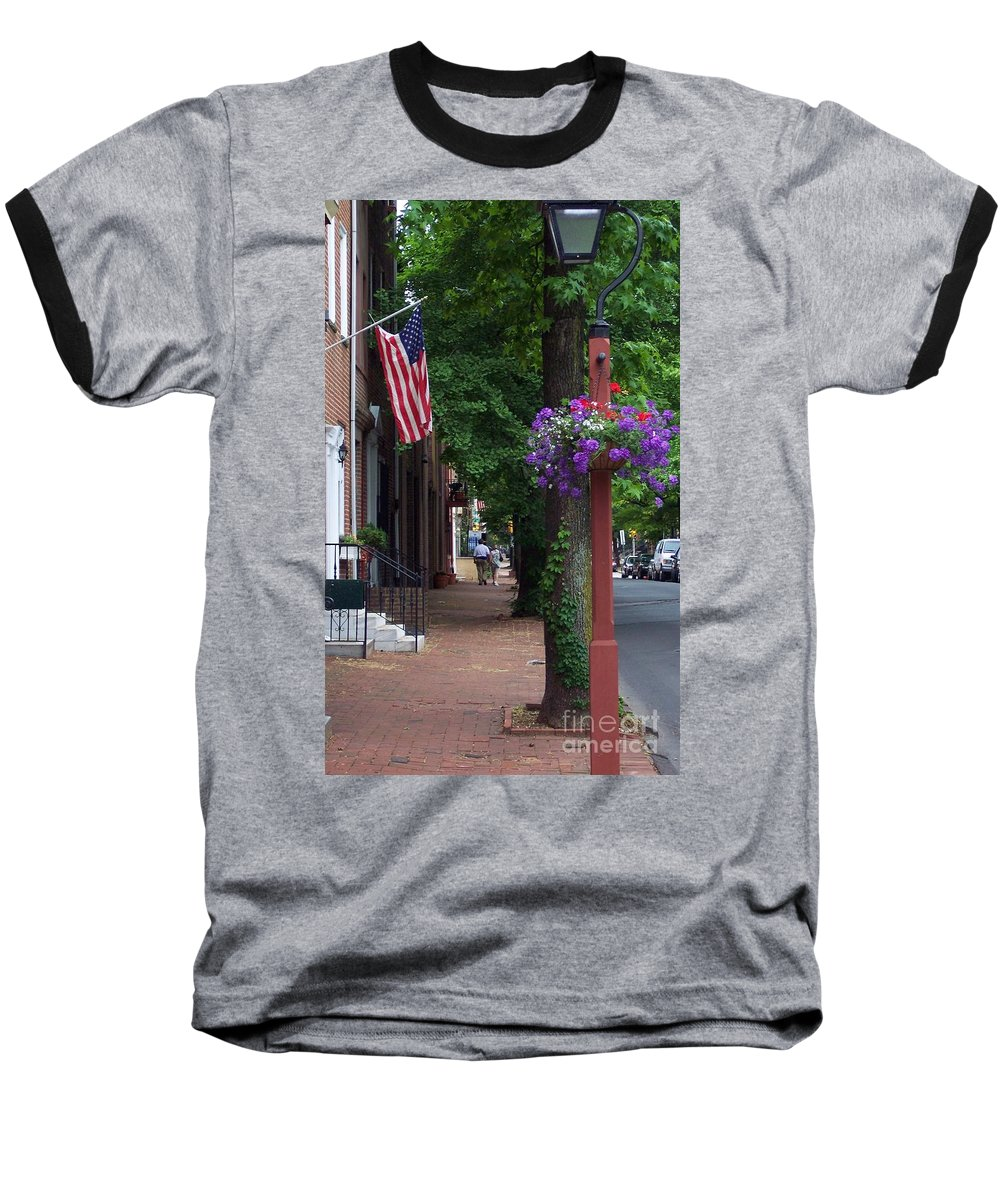 Cityscape Baseball T-Shirt featuring the photograph Patriotic Street In Philadelphia by Debbi Granruth