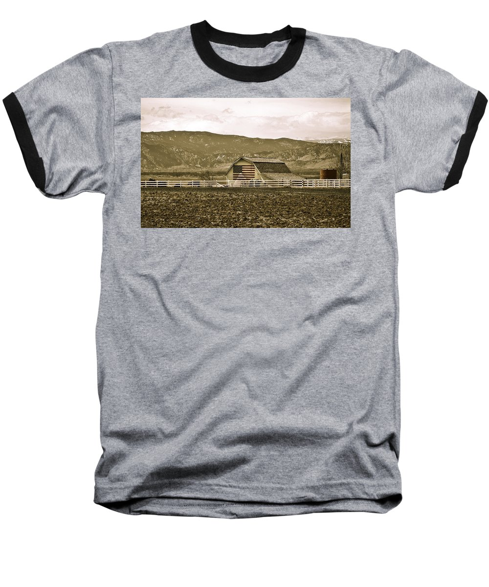 Americana Baseball T-Shirt featuring the photograph Patriotism And Barn by Marilyn Hunt