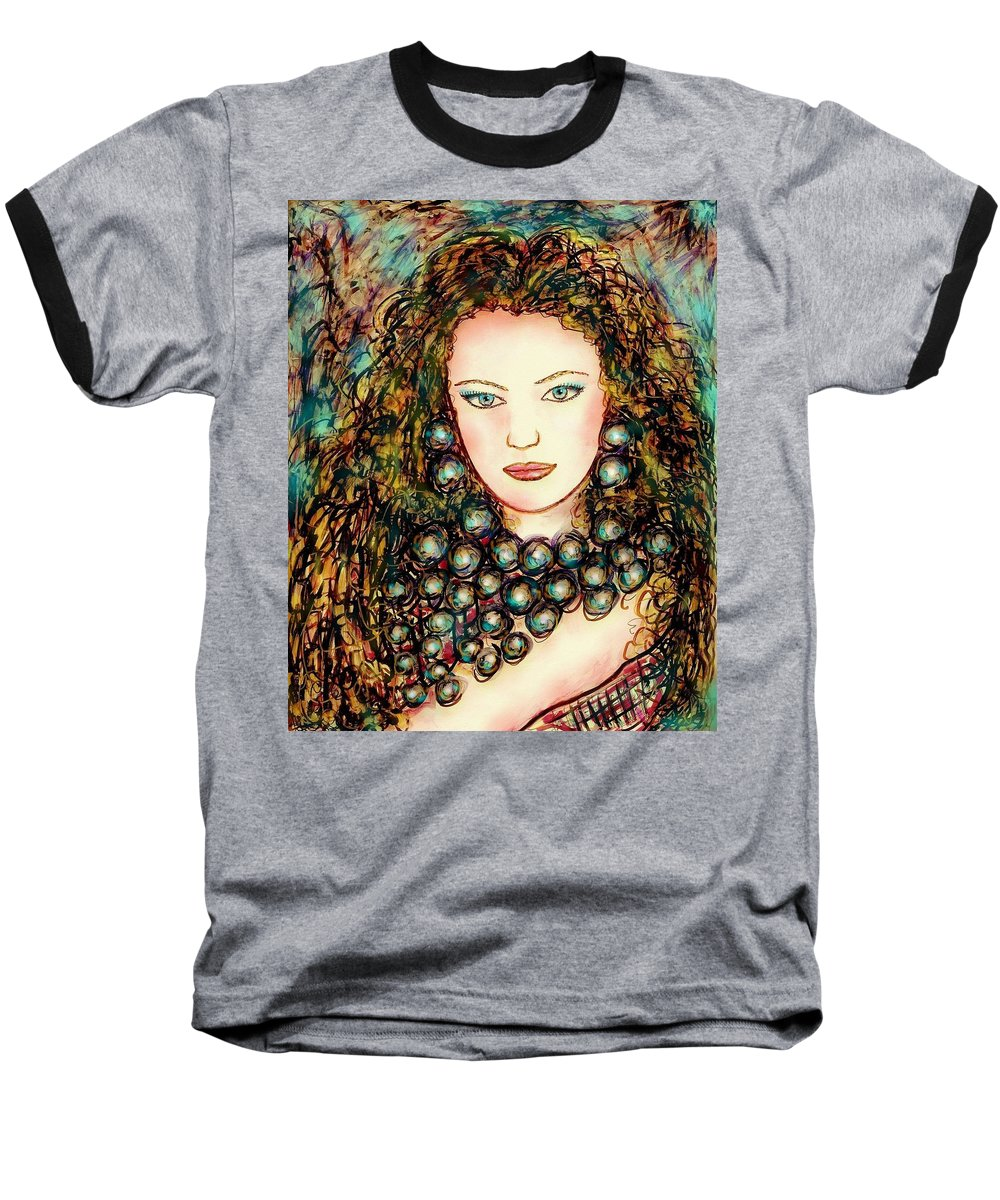 Woman Baseball T-Shirt featuring the painting Paula by Natalie Holland