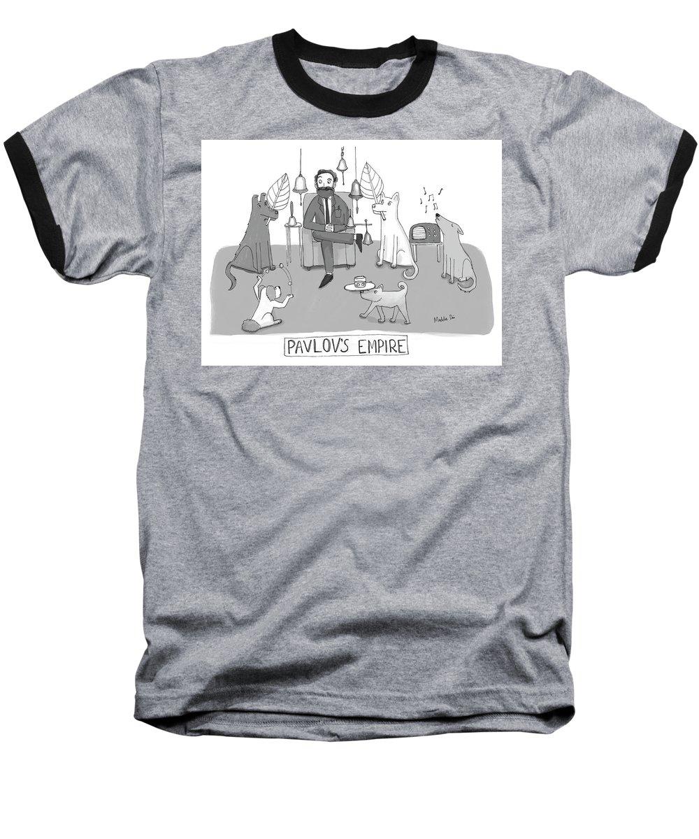 Pavlov's Empire Baseball T-Shirt featuring the drawing Pavlovs Empire by Maddie Dai