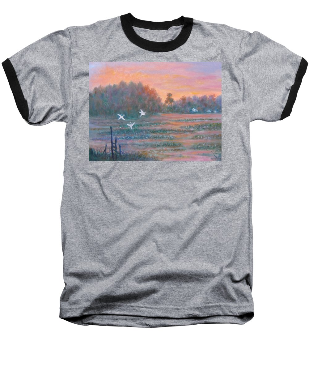 Low Country; Egrets; Sunset Baseball T-Shirt featuring the painting Pawleys Island by Ben Kiger