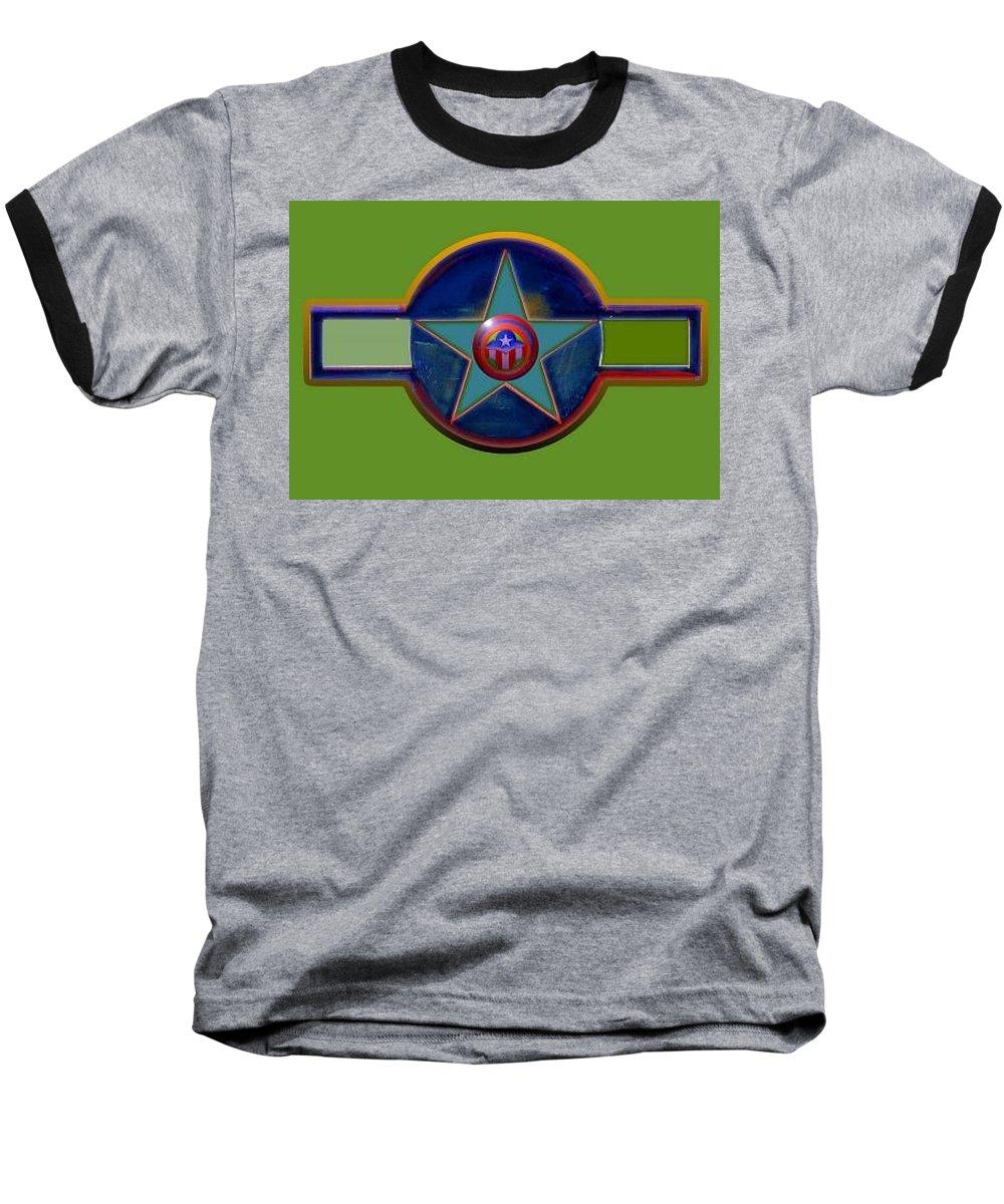 Usaaf Insignia Baseball T-Shirt featuring the digital art Pax Americana Decal by Charles Stuart