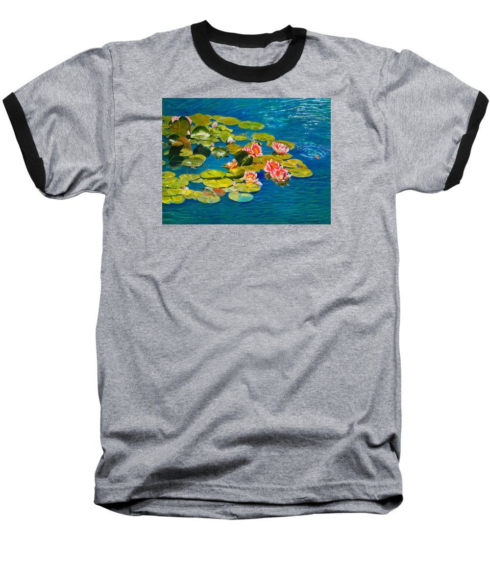 Water Lilies Baseball T-Shirt featuring the painting Peaceful Belonging by Michael Durst