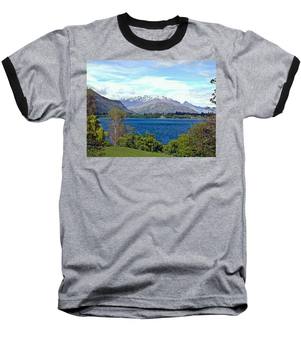 Lake Baseball T-Shirt featuring the photograph Peaceful Lake -- New Zealand by Douglas Barnett