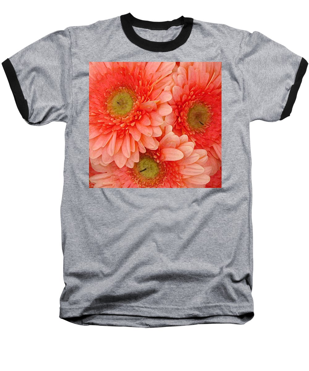 Floral Baseball T-Shirt featuring the painting Peach Gerbers by Amy Vangsgard
